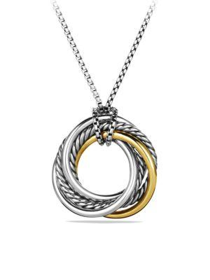 David Yurman Crossover Small Pendant With Gold In Silver-Gold