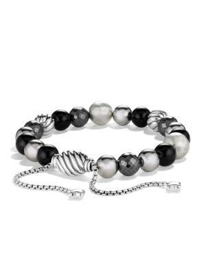 David Yurman Dy Elements Bracelet With Black Onyx And Hematine In Silver-Black