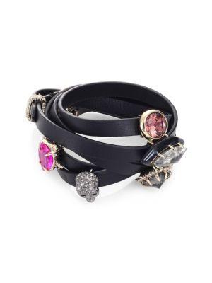 Alexis Bittar Custom Gemstone & Leather Wrap Bracelet In Black-Multi