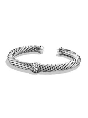David Yurman Cable Classics Bracelet With Diamonds And White Gold In Silver-White Gold
