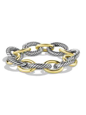 David Yurman Oval Extra-Large Link Bracelet With Gold In Silver-Gold