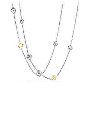 David Yurman Dy Logo Chain Necklace With Gold In Silver-Gold