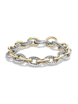 David Yurman Oval Large Link Bracelet With Gold In Silver-Gold