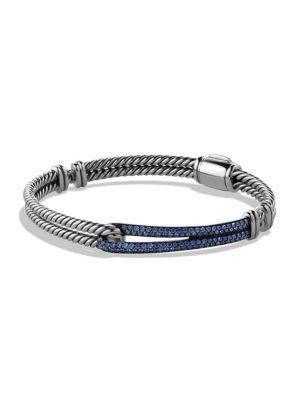David Yurman Petite PavÉ Labyrinth Single-Loop Bracelet In Blue Sapphire