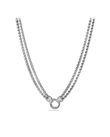 David Yurman Double Wheat Chain Necklace With Diamonds, 17 In White/Silver