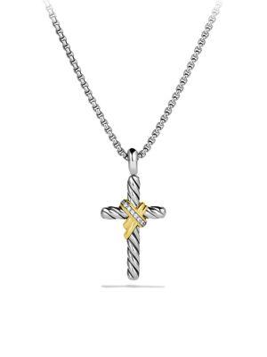 David Yurman X Cross With Diamonds And Gold On Chain In Silver-Gold