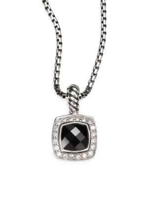 David Yurman Petite Albion Pendant Necklace With Diamonds In Black Onyx