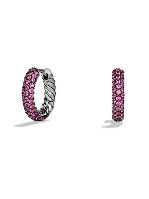 David Yurman Petite PavÉ Earrings In Pink Sapphire