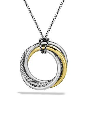 David Yurman Crossover Pendant With Gold On Chain In Silver-Gold