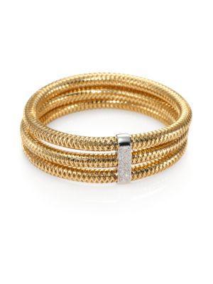 Roberto Coin Primavera Diamond & 18K Yellow Gold Multi-Row Woven Bracelet In Yellow-White Gold