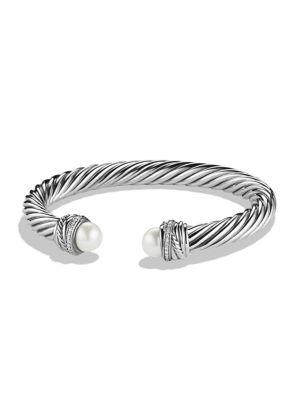 David Yurman Crossover Bracelet With Pearls And Diamonds In Silver/Pearl