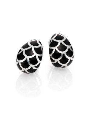 John Hardy Naga Enamel & Sterling Silver Buddha Belly Earrings In Silver-Black