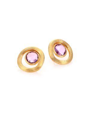 Marco Bicego Jaipur Color Amethyst & 18K Yellow Gold Stud Earrings In Gold-Amethyst