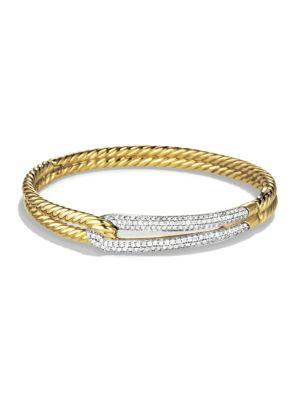 David Yurman Labyrinth Single Loop Bracelet With Diamonds And Gold In Gold-Silver
