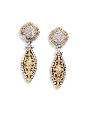 Konstantino Asteri Diamond, 18K Yellow Gold & Sterling Silver Filigree Marquis Drop Earrings In Gold-Silver