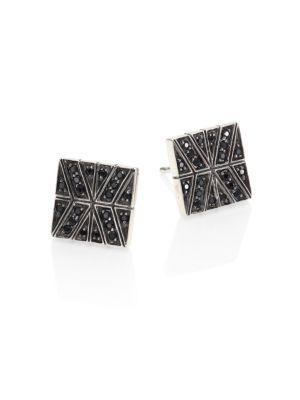 John Hardy Modern Chain Black Sapphire & Sterling Silver Stud Earrings