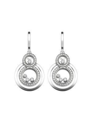 Chopard Happy 8 Diamond & 18K White Gold Drop Earrings