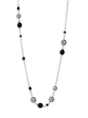 John Hardy Sterling Silver Dot Station Necklace With Black Spinel, Black Sapphire And Obsidian, 36 In Silver/ Golden Obsidian