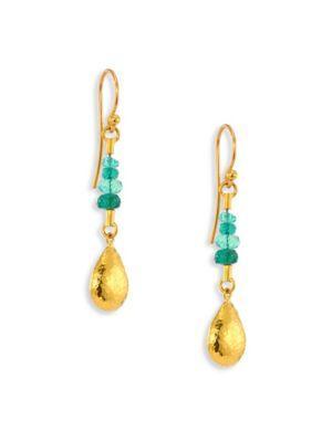 Gurhan Delicate Rain Emerald & 24K Yellow Gold Drop Earrings In Gold-Emerald
