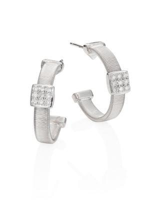 Marco Bicego Masai 18K White Gold Small Hoop Earrings With Diamonds