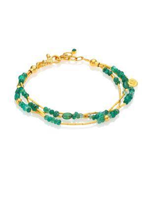 Gurhan Delicate Rain Emerald & 24K Yellow Gold Triple-Strand Bracelet In Gold-Emerald
