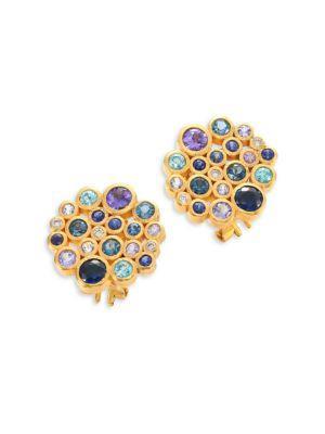 Gurhan Pointelle Diamond, Multi-Stone & 24K Yellow Gold Stud Earrings In Gold-Multi