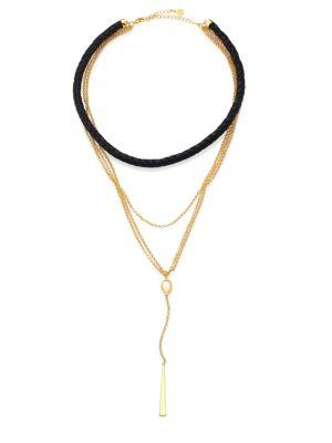 Jules Smith Pacey Mother-Of-Pearl & Leather Layered Necklace In Gold-Black