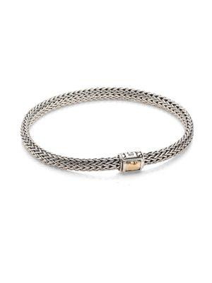 John Hardy Classic Chain Hammered Extra Small 18K Yellow Gold & Sterling Silver Chain Bracelet In Silver-Gold