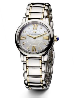 David Yurman Classic 30Mm Stainless Steel And 18K Gold Quartz Watch With Diamonds In Silver-Gold