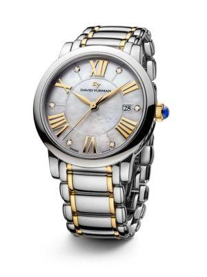 David Yurman Classic 38Mm Stainless Steel Quartz Watch With 18K Gold And Diamonds In Silver-Gold
