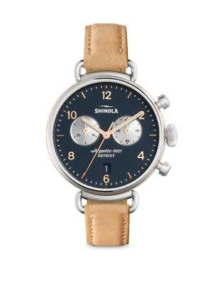 Shinola Runwell Natural Aniline Latigo Leather Strap Watch In Cognac-Navy
