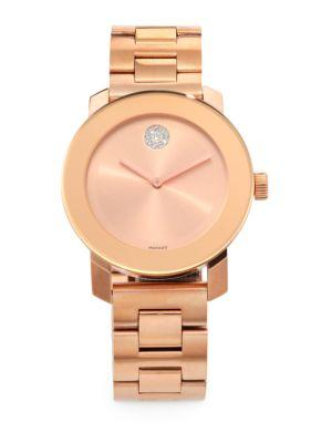 Movado Bold Rose Goldtone Ip Stainless Steel Bracelet Watch In Rose Gold Diamond