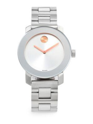 Movado Bold Stainless Steel Bracelet Watch In Silver Gold