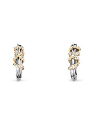 David Yurman Helena Small Hoop Earrings With Diamonds And 18K Gold In Silver-Gold