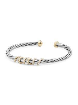David Yurman Helena Center Station Bracelet With Diamonds And 18K Gold In Silver-Gold