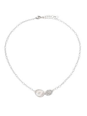 Marco Bicego Lunaria Diamond & 18K White Gold Pendant Necklace