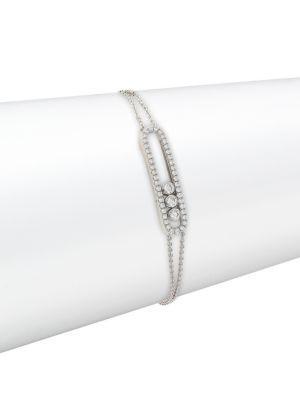 Messika Move 18K White Gold & Diamond PavÉ Bracelet