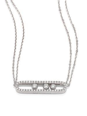 Messika Move Diamond PavÉ & 18K White Gold Necklace