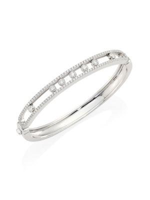 Messika Move Medium Seven Diamond & 18K White Gold Bangle