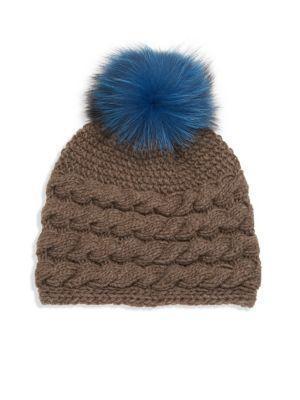 Inverni Fox Fur Pom-Pom, Wool & Cashmere Beanie In Taupe-Blue