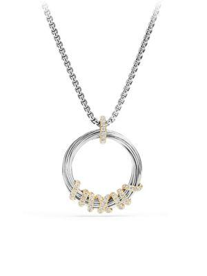 David Yurman Helena Medium Pendant Necklace With Diamonds And 18K Gold In Silver-Gold