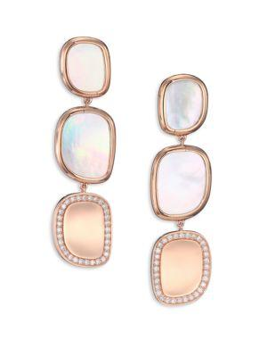 Roberto Coin Mother-Of-Pearl, Diamond & 18K Rose Gold Drop Earrings