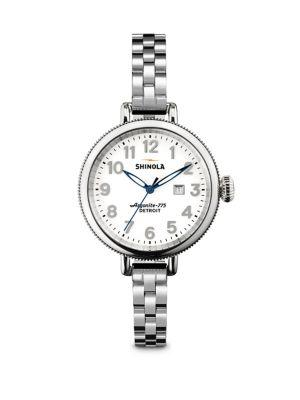 Shinola Birdy Stainless Steel Bracelet Watch In Silver