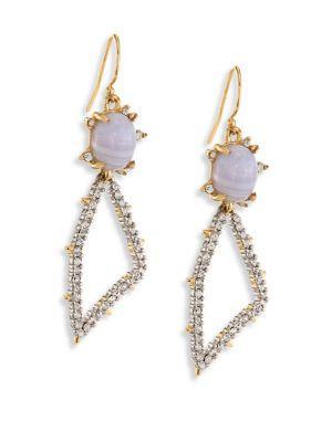 Alexis Bittar Elements Blue Lace Agate & Crystal Geometric Drop Earrings In Gold-Multi