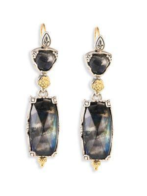Konstantino Cassiopeia Doublet Spectrolite, 18K Yellow Gold, & Sterling Silver Drop Earrings In Multi