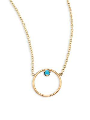 ZoË Chicco Medium Circle Turquouise & 14K Yellow Gold Pendant Necklace In Gold-Turquoise