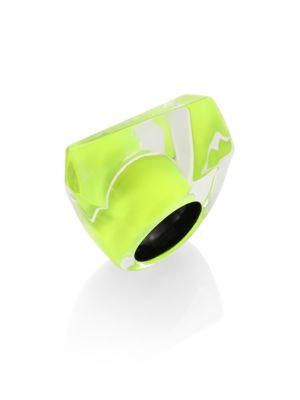 Alexis Bittar Lucite Faceted Cocktail Ring In Neon Yellow