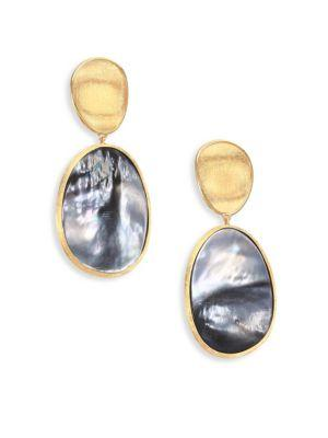 Marco Bicego Lunaria Black Mother-Of-Pearl & 18K Yellow Gold Long Drop Earrings In Gold-Grey