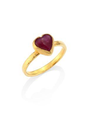Gurhan Amulet Hue Ruby & 22-24K Yellow Gold Heart Ring In Gold-Ruby