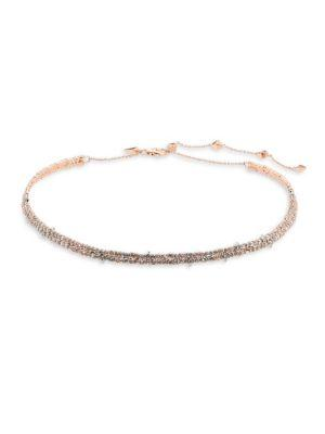 Alexis Bittar Crystal-Encrusted Spiked Choker In Silver